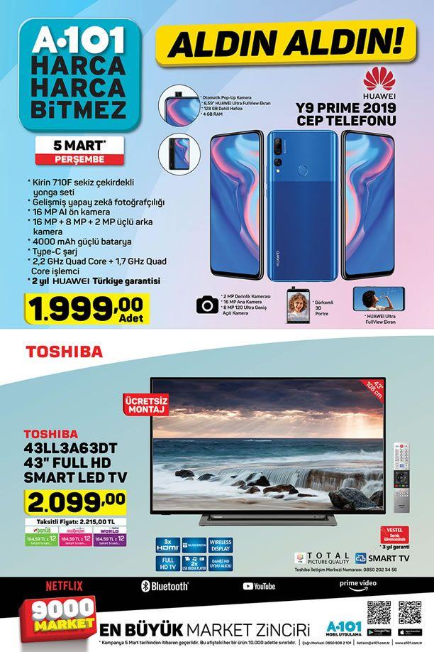 A101 5 Mart 2020 Kataloğu - Huawei Y9 Prime 2019 Cep Telefonu