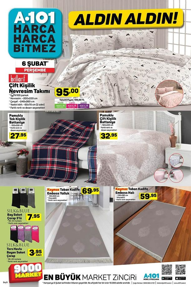 A101 6 Şubat - 12 Şubat 2020 Aktüel Kataloğu - Ev Tekstili Ürünleri