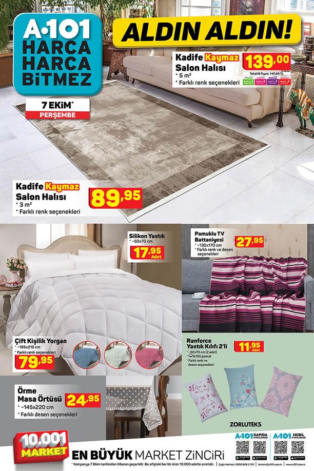 A101 7 Ekim 2021 Perşembe Kataloğu - Kadife Kaymaz Salon Halısı