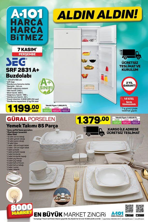 A101 7 Kasım 2019 Kataloğu - Güral Porselen 85 Parça Yemek Takımı
