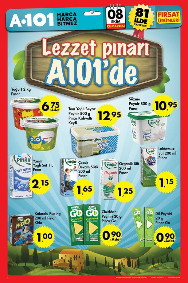 A101 8 Ekim 2016 Aktüel Ürünler Katalogu - Pınar Süt
