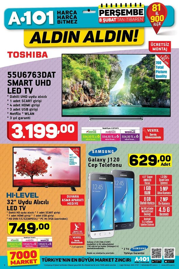 A101 8 Şubat 2018 Kataloğu - Toshiba Smart Led Tv