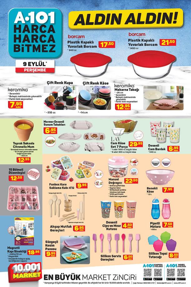 A101 9 Eylül 2021 Mutfak Ürünleri Broşürü