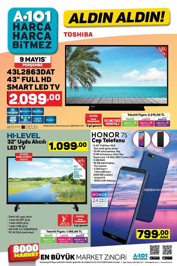 A101 9 Mayıs 2019 Kataloğu - Honor 7S Cep Telefonu