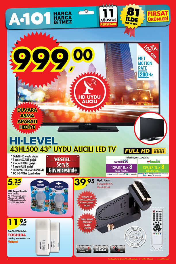 A101 Aktüel 11 Ağustos 2016 Katalogu - HI-LEVEL 43HL500 Led Tv