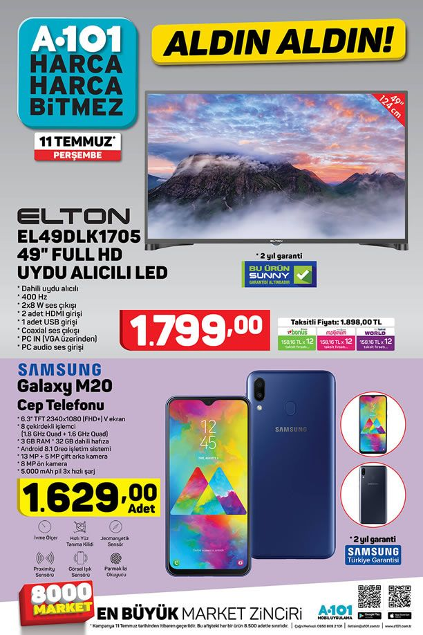 A101 Aktüel 11 Temmuz 2019 Kataloğu - Samsung Galaxy M20