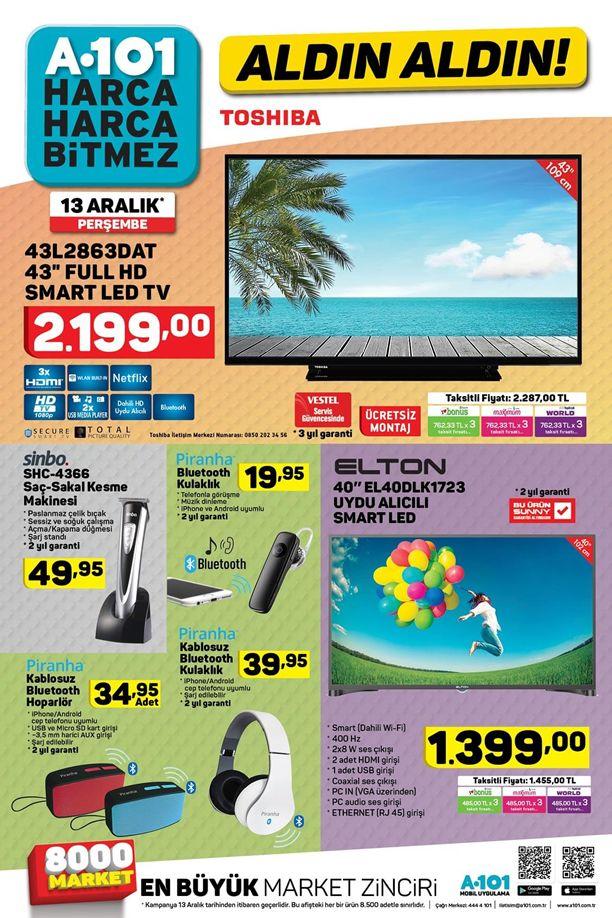 A101 Aktüel 13 Aralık 2018 Kataloğu - Toshiba Full HD Smart Led Tv