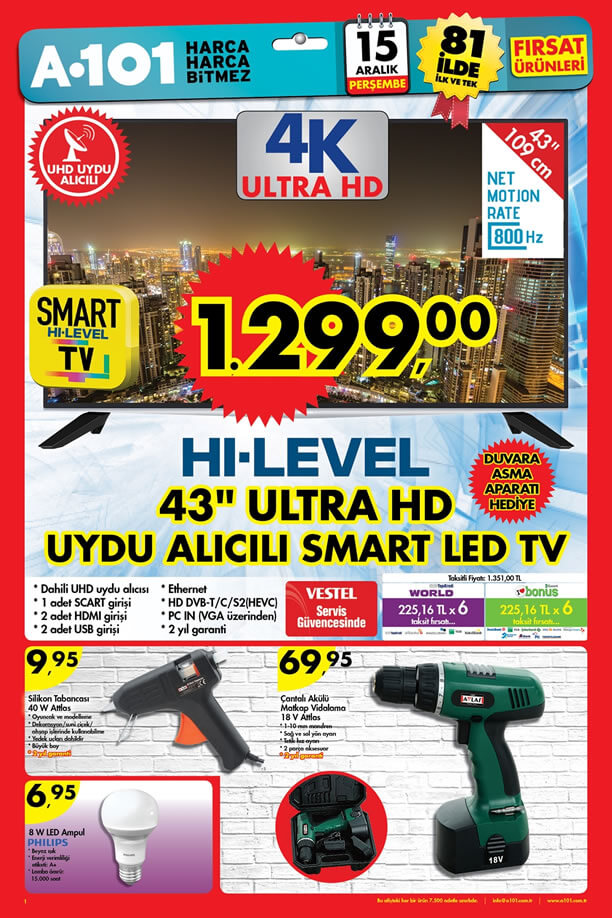 A101 Aktüel 15 Aralık 2016 Katalogu - HI-LEVEL Ultra HD Smart Tv