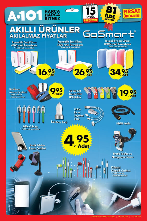 A101 Aktüel 15 Eylül 2016 Katalogu - GoSmart Akıllı Ürünler