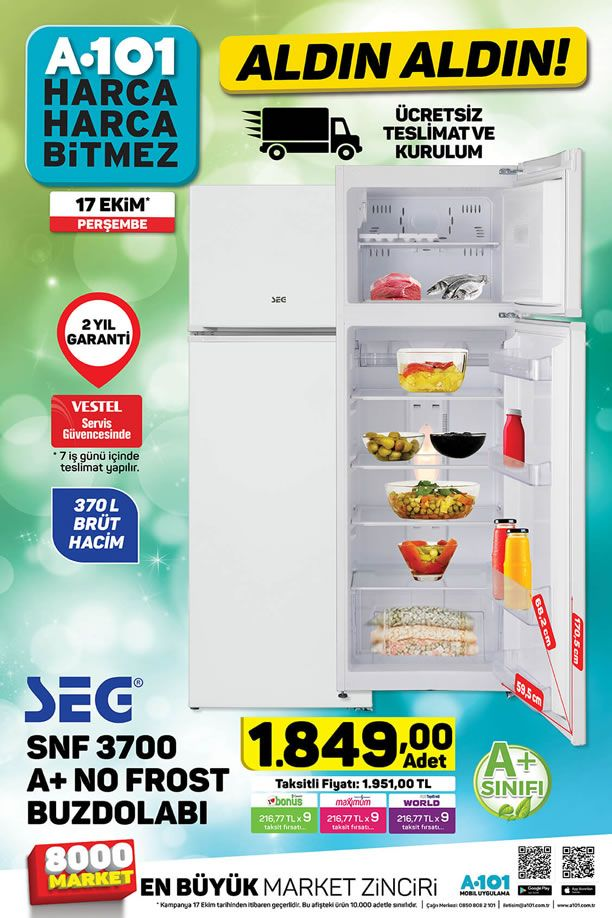 A101 Aktüel 17 Ekim 2019 Kataloğu - SEG Buzdolabı