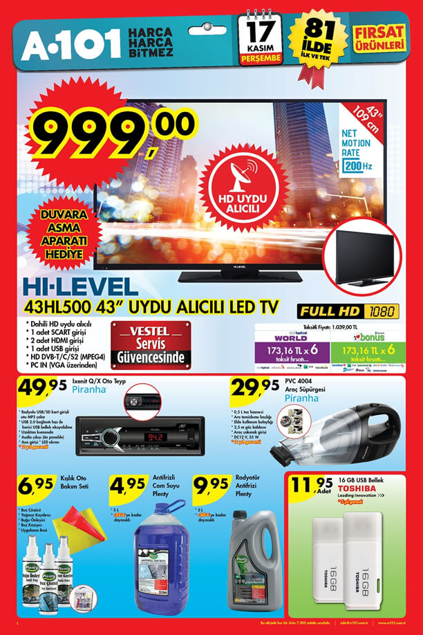 A101 Aktüel 17 Kasım 2016 Katalogu - HI-LEVEL Uydu Alıcılı Led Tv