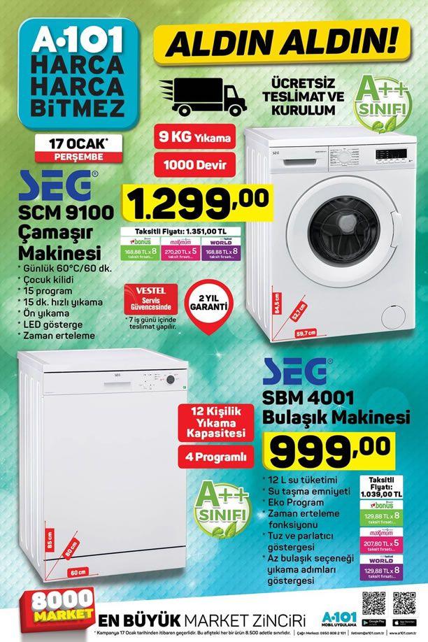 A101 Aktüel 17 Ocak 2019 Kataloğu - SEG Çamaşır ve Bulaşık Makinesi