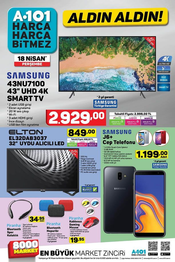 A101 Aktüel 18 Nisan 2019 Kataloğu - Samsung J6+ Cep Telefonu