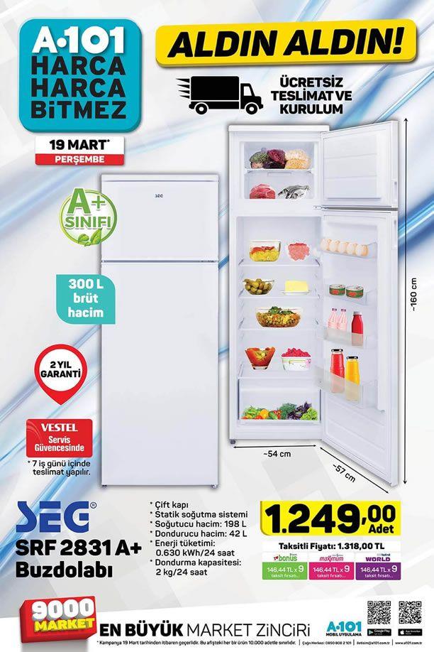 A101 Aktüel 19 Mart 2020 Kataloğu - SEG SRF 2831 A+ Buzdolabı