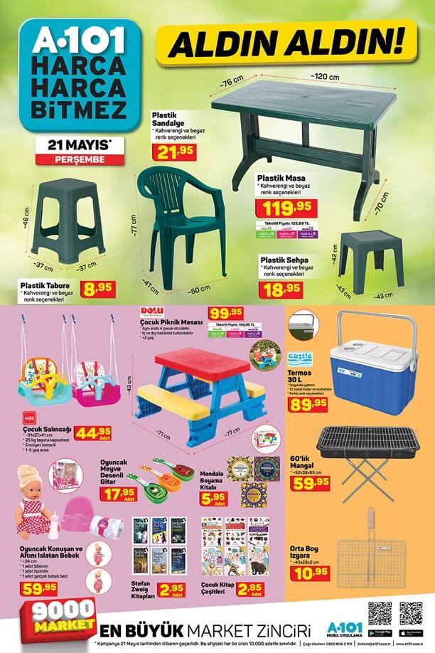 A101 Aktüel 21 Mayıs 2020 Kataloğu - Plastik Masa Sandalye
