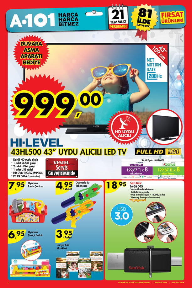 A101 Aktüel 21 Temmuz 2016 Katalogu - HI-LEVEL 43HL500 Led Tv