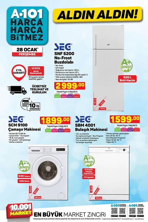 A101 Aktüel 28 Ocak 2021 Kataloğu - SEG No-Frost Buzdolabı