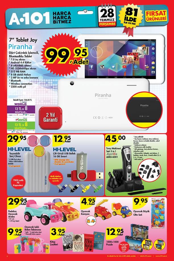 A101 Aktüel 28 Temmuz 2016 Katalogu - Piranha Joy Tablet