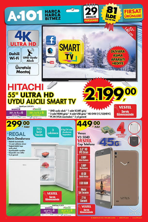 A101 Aktüel 29 Aralık 2016 Katalogu - HITACHI Ultra HD Smart Tv