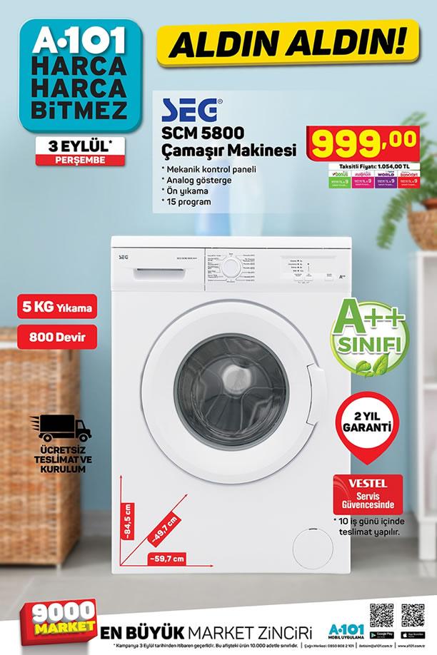 A101 Aktüel 3 Eylül 2020 Kataloğu - SEG SCM 5800 Çamaşır Makinesi