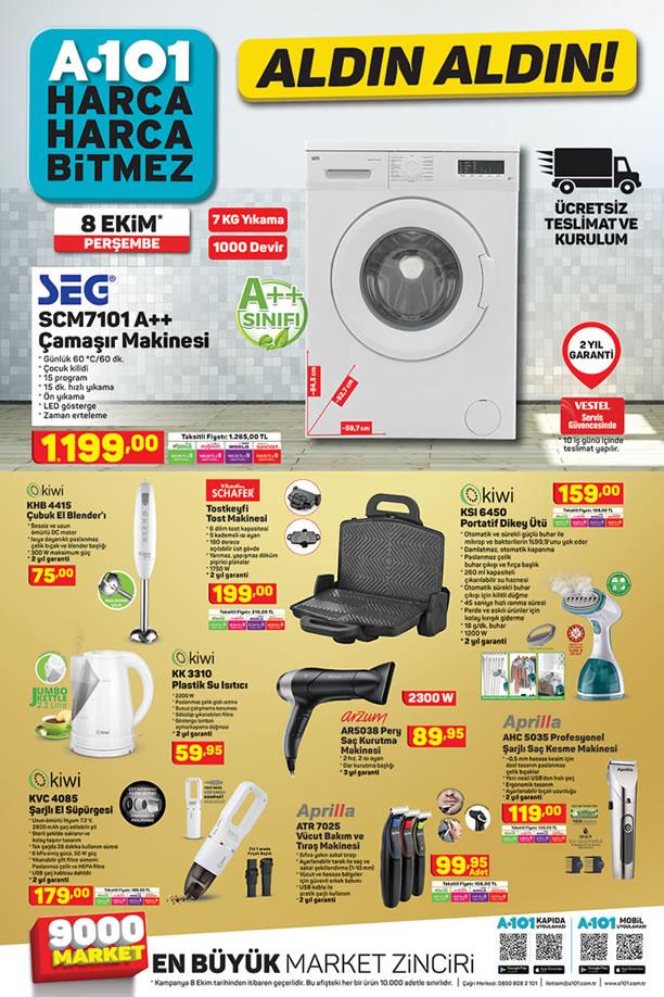 A101 Aktüel 8 Ekim 2020 Kataloğu - SEG Çamaşır Makinesi