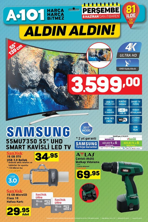 A101 Aktüel 8 Haziran 2017 - Samsung Smart Kavisli Led Tv