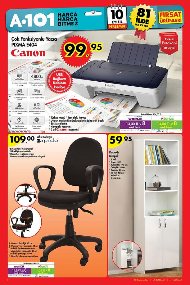 A101 Aktüel Ürünler 10 Eylül 2015 - Ofis Koltuğu - Canon Yazıcı