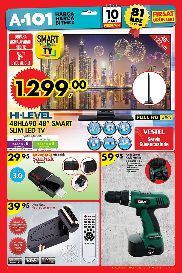 A101 Aktüel Ürünler 10 Mart 2016 Katalogu - HI-LEVEL 48HL690 Smart Slim Led Tv