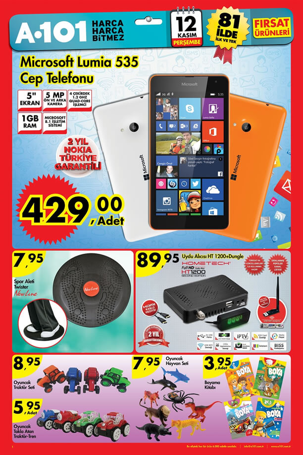 A101 Aktüel Ürünler 12 Kasım 2015 Broşürü - Microsoft Lumia 535 Cep Telefonu