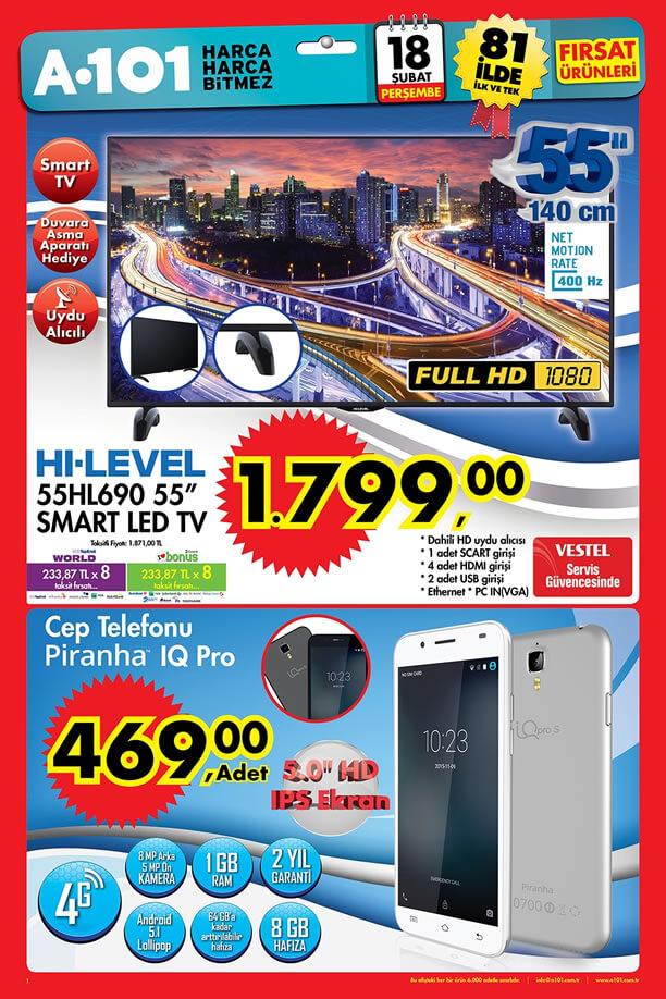 A101 Aktüel Ürünler 18 Şubat 2016 Katalogu - Piranha IQ Pro Cep Telefonu