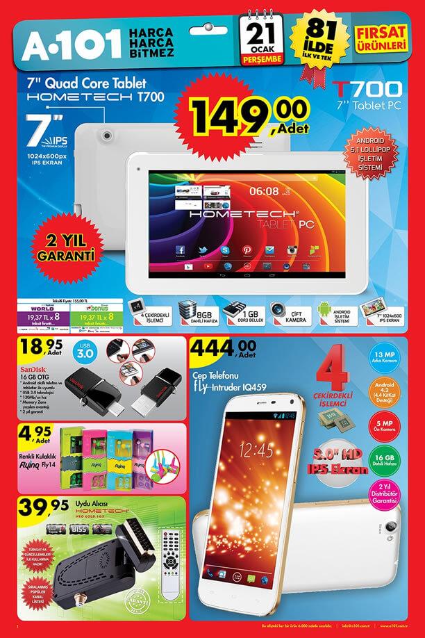 A101 Aktüel Ürünler 21 Ocak 2016 Katalogu - Hometech T700 Tablet