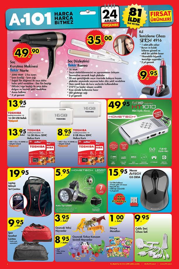 A101 Aktüel Ürünler 24 Aralık 2015 Broşürü - Fakir Norte Saç Kurutma