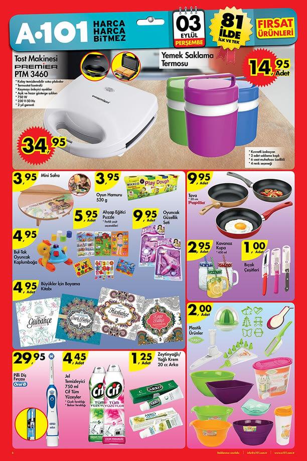 A101 Aktüel Ürünler 3 Eylül 2015 Katalogu - Tost Makinesi