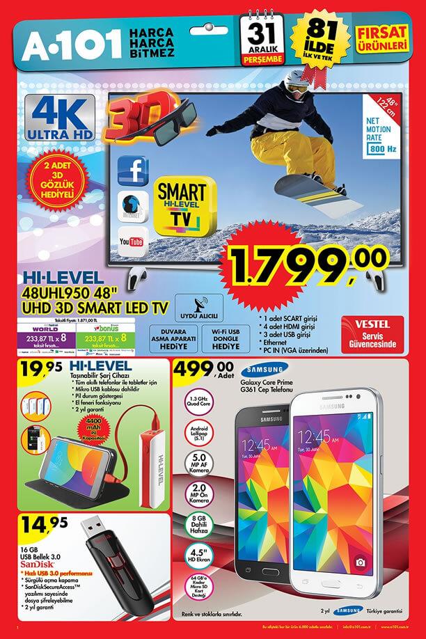 A101 Aktüel Ürünler 31 Aralık 2015 Broşürü - HI-LEVEL 48UHL950 3D Smart Tv