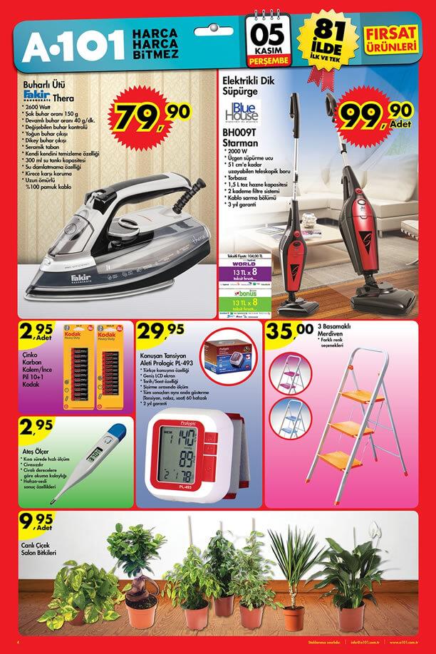 A101 Aktüel Ürünler 5 Kasım 2015 Katalogu - Fakir Buharlı Ütü