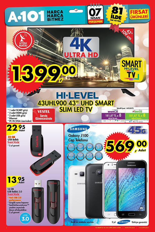 A101 Aktüel Ürünler 7 Nisan 2016 Katalogu - Samsung Galaxy J100