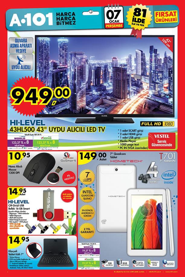 A101 Aktüel Ürünler 7 Ocak 2016 Katalogu - HI-LEVEL 43HL500 Led Tv