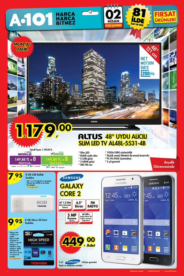 A101 Aktüel Ürünler Kataloğu 02 Nisan 2015