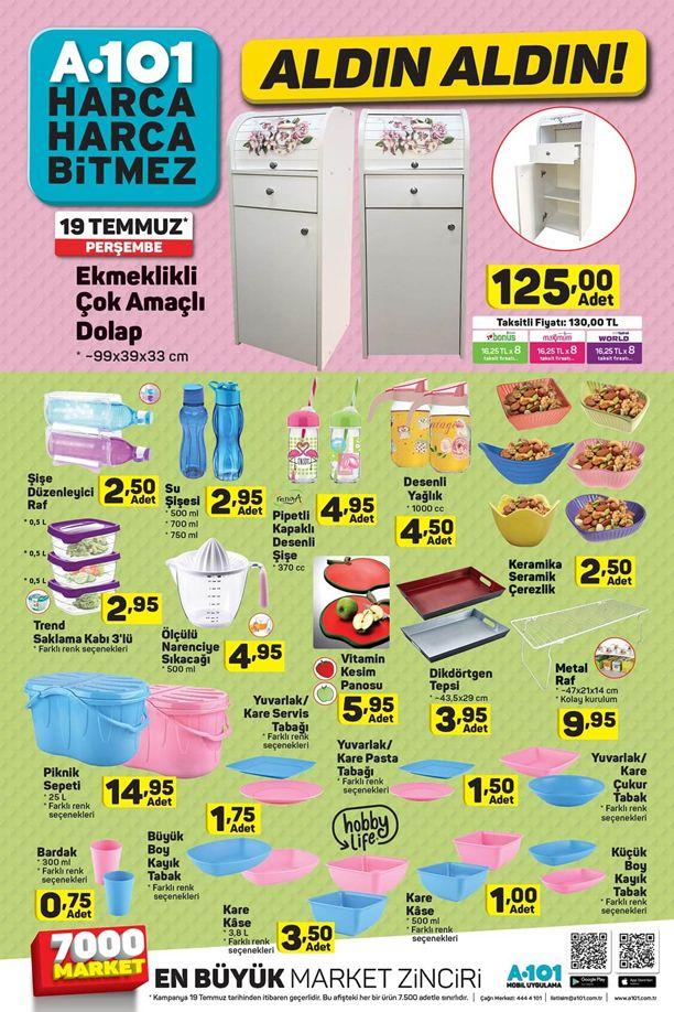 A101 Aldın Aldın 19 Temmuz 2018 Broşürü - Ekmeklikli Çok Amaçlı Dolap