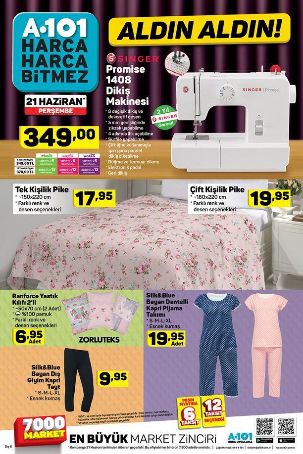 A101 Aldın Aldın 21 Haziran Katalogu - Singer Promise Dikiş Makinesi