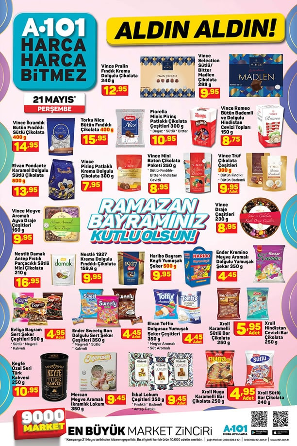 A101 Bayram Fırsatları 21 Mayıs 2020 Bayram Şekeri ve Çikolataları