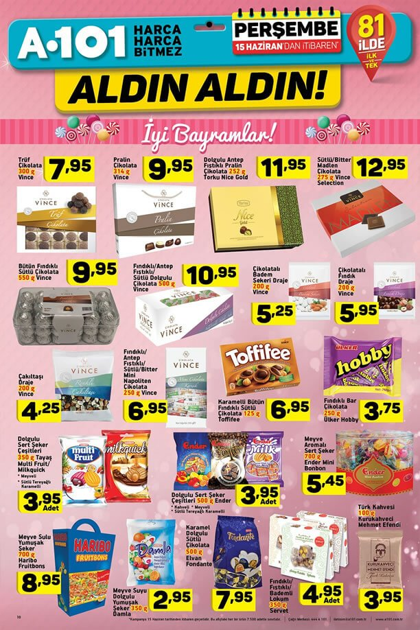 A101 Bayram Şekerleri 15 Haziran 2017 Katalogu
