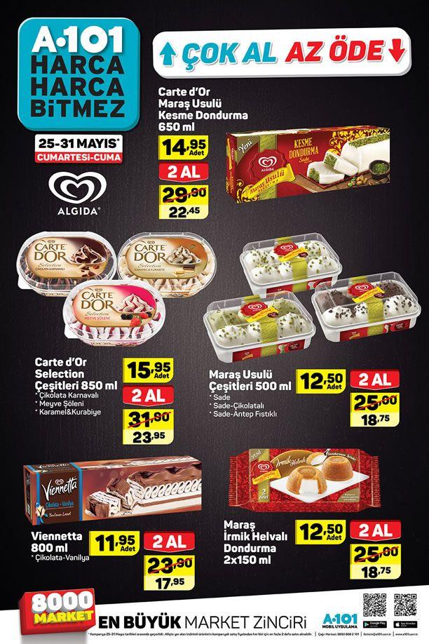 A101 Çok Al Az Öde Algida Dondurma Fiyatları - 25-31 Mayıs 2019