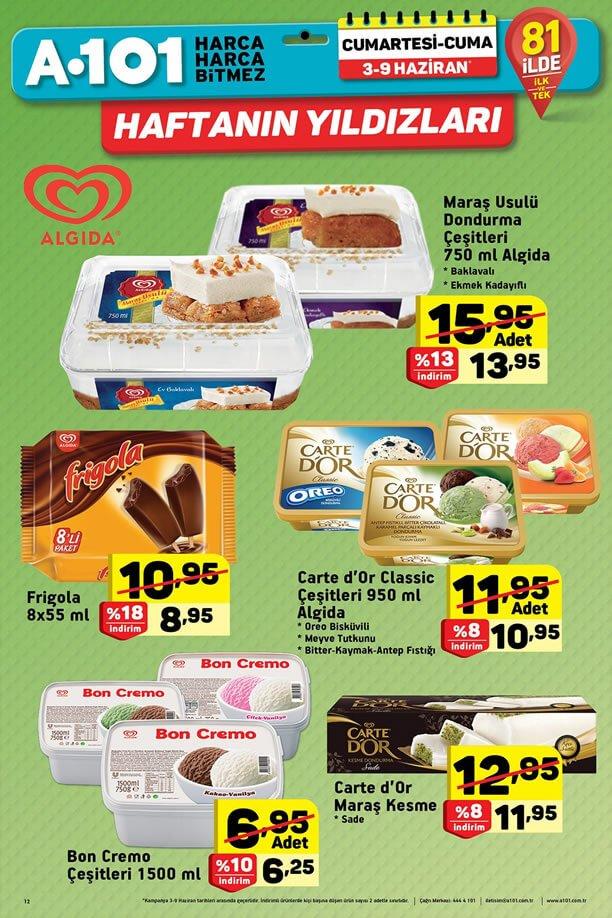 A101 Dondurma Fiyatları 3 - 9 Haziran 2017 Kampanyası