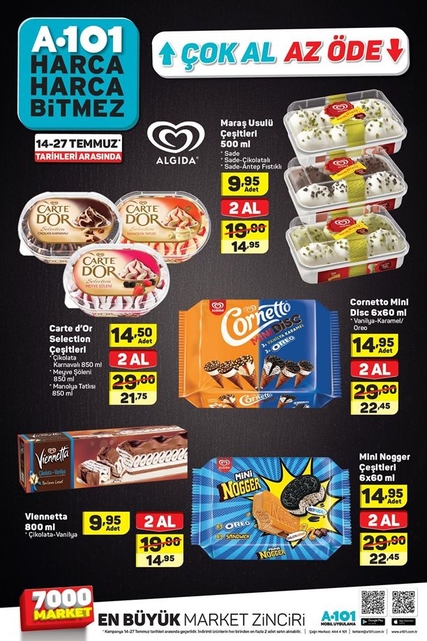 A101 Dondurma Kampanyası - 14 Temmuz ile 27 Temmuz Fiyatları