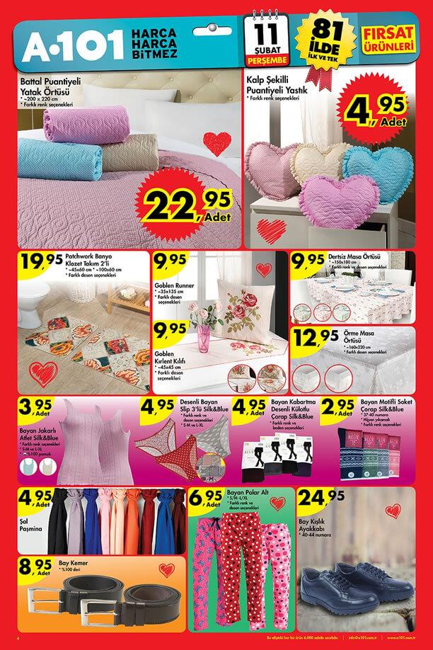 A101 Fırsat Ürünler 11 Şubat 2016 Katalogu - Ev Tekstili