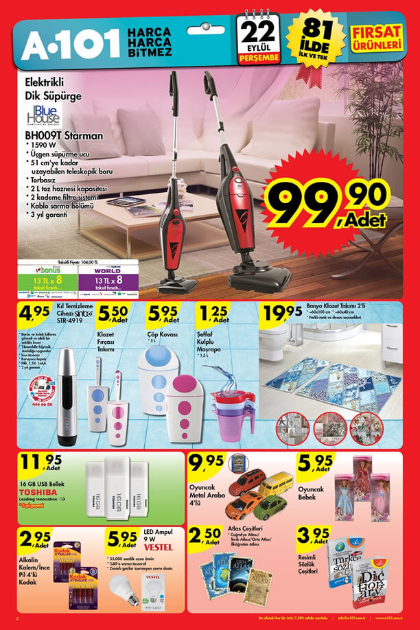 A101 Fırsat Ürünler 22 Eylül 2016 Katalogu - Elektrikli Dik Süpürge