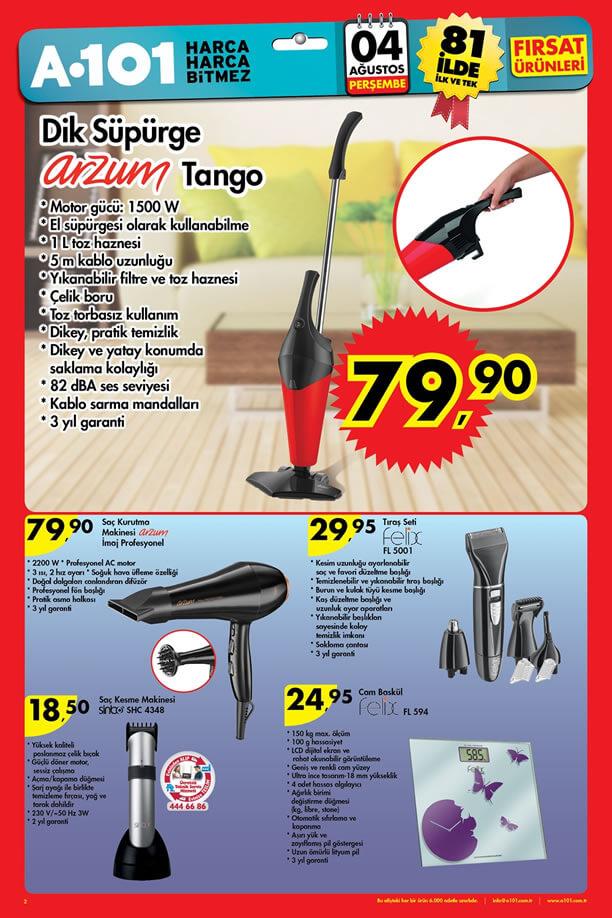 A101 Fırsat Ürünleri 04.08.2016 Katalogu - Arzum Tango Dik Süpürge