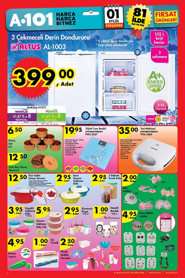 A101 Fırsat Ürünleri 1 Eylül 2016 Katalogu - Altus Derin Dondurucu