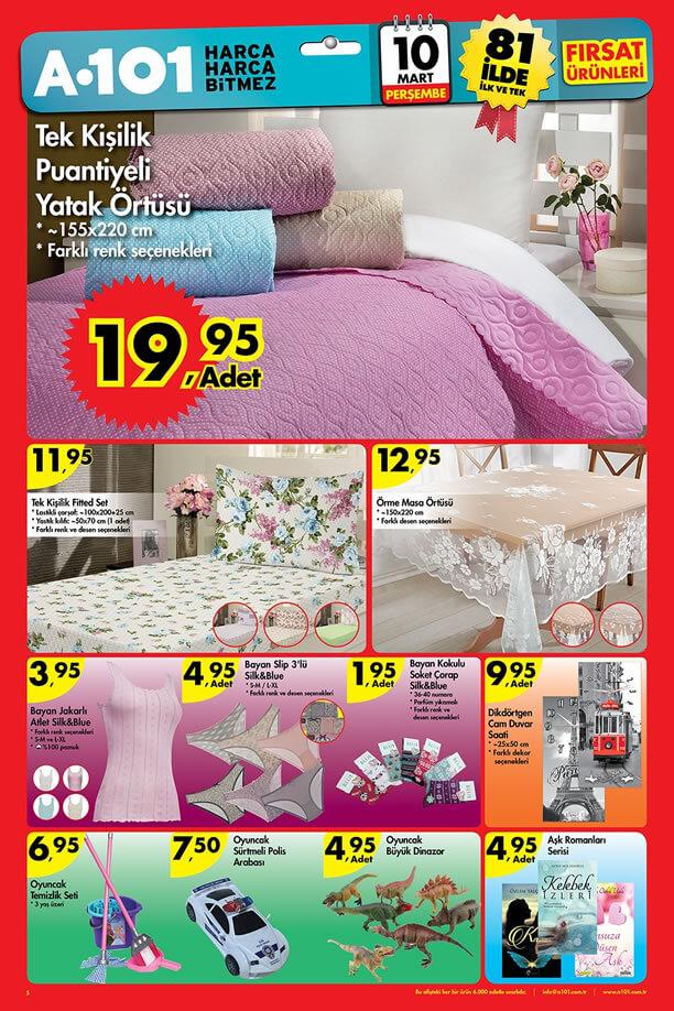 A101 Fırsat Ürünleri 10 Mart 2016 Katalogu - Puantiyeli Yatak Örtüsü